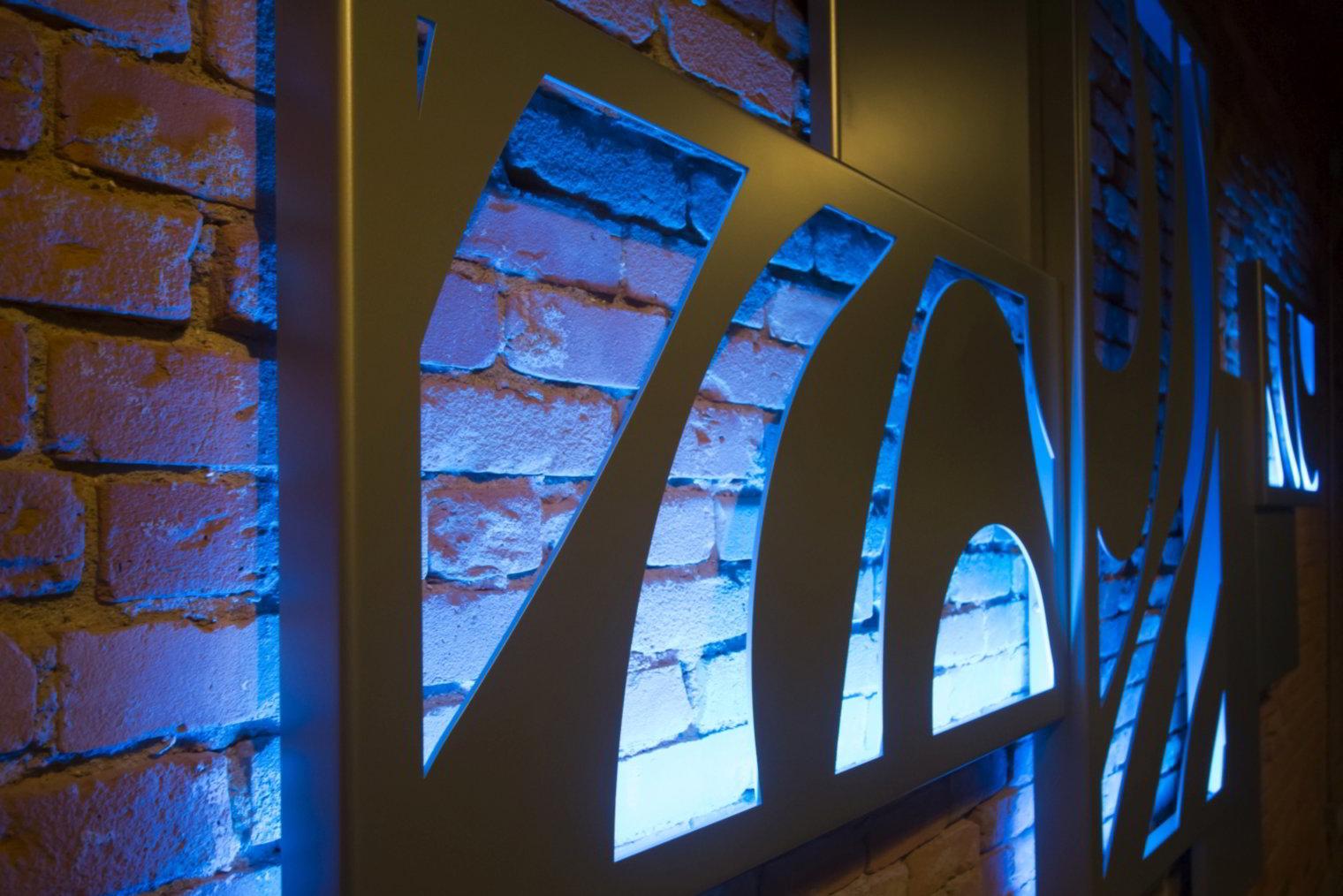 Revamp Wave Metal Hanging Wall Art Composition Blue Led Backlight