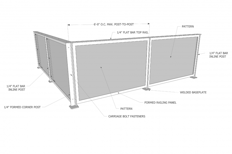 Diagram of Revamp Panel Standard Metal Railing System