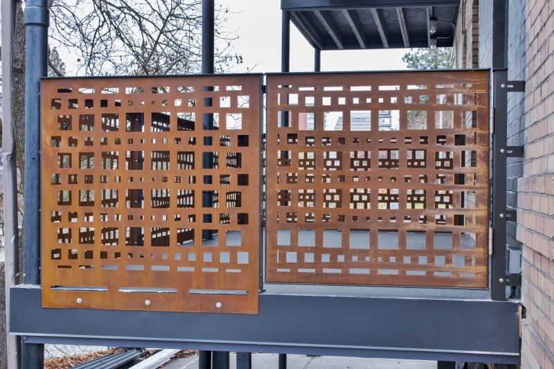 Corten Panel Railin System and Small Entry Gate