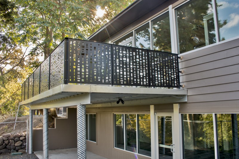 Perforated Metal Railing on Midcentury Deck