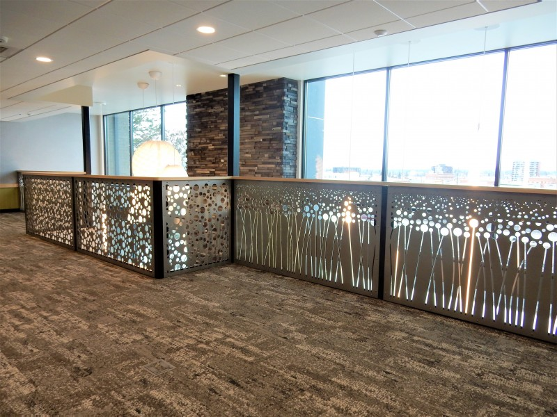 Metal Railing Panels with Millwork Frame Installed in a Medical Office