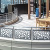 Compound Curved Stainless Steel Apartment Patio Railing with Leaf Laser Cut Pattern